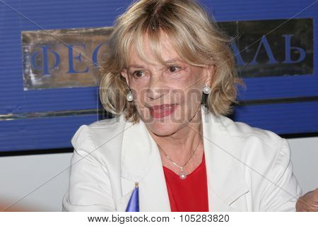 MOSCOW - JUNE 24: Jeanne Moreau arrives for photocall
