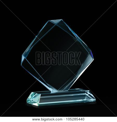 Crystal Blank For Award On Black