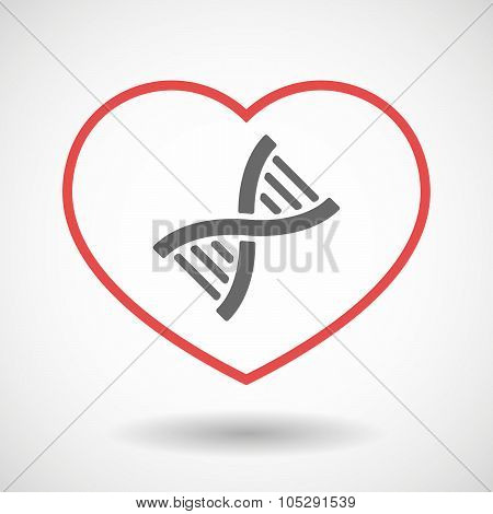 Line Heart Icon With A Dna Sign
