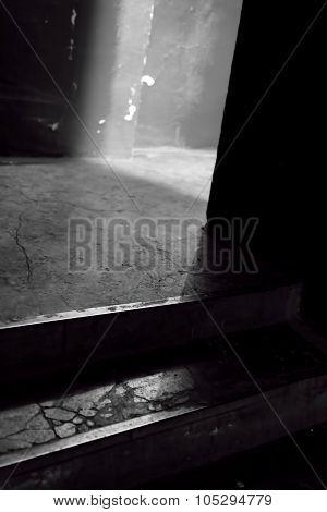 Spooky Horror Doorway In Black And White