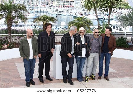 CANNES, FRANCE - MAY 23:  Gaspar Noe, Benicio Del Toro, Laurent Cantet, Elia Suleiman, Pablo Trapero attends ' 7 Dias en la Habana' Photocal at Palais des Festivals on May 23, 2012 in Cannes, France.