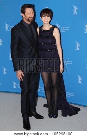 BERLIN, GERMANY - FEBRUARY 09: Anne Hathaway and Hugh Jackman attend the 'Les Miserables' Photocall during the 63rd Berlinale Film Festival at Grand Hyatt Hotel on February 9, 2013 in Berlin, Germany
