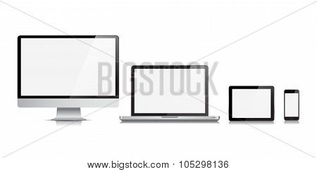 Monitor Computer Laptop Tablet Phone Vector Device