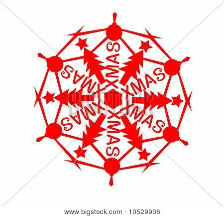 vector of snow flake with christmas elements
