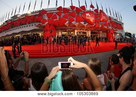 VENICE - AUGUST 29: Red Carpet at the entrance of Palazzo del Cinema, waiting for the next celebrity at  Venice Film Festival on August 29, 2013 in Venice, Italy.