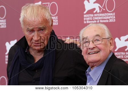 VENICE, ITALY - SEPTEMBER 05:  Andrzej Wajda and Janusz Glowack attend 'Walesa. Man of Hope' Photocall during The 70th Venice Film Festival at the Palazzo  on September 5, 2013 in Venice, Italy