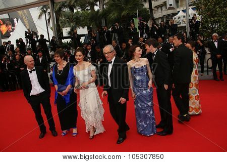CANNES, FRANCE - MAY 22:  Rebecca O'Brien, Simone Kirby, Barry Ward, Ken Loach and Paul Laverty attend the 'Jimmy's Hall' premiere during the 67th Cannes Festival on May 22, 2014 in Cannes, France.