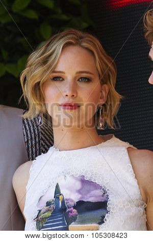 CANNES, FRANCE - MAY 17: Jennifer Lawrence attends 'The Hunger Games: Mockingjay Part 1' Photocall - at the 67th Annual Cannes Film Festival on May 17, 2014 in Cannes, France