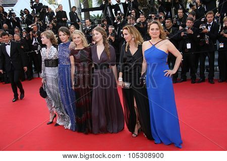 CANNES, FRANCE - MAY 18: Carole Franck, Isabelle Carre, Josephine Japy, Melanie Laurent, Lou de Laage attend 'The Homesman' premiere during the 67th  Festival on May 18, 2014 in Cannes, France.