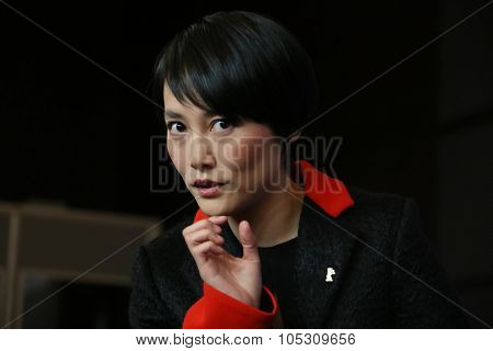 BERLIN, GERMANY - FEBRUARY 5: Rinko Kikuchi poses during the  press conference for the 'Nadie quiere la noche'  presented at the 65th Film Festival in Berlin, on February 5, 2015.