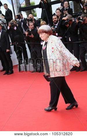 Agnes Varda attends the 'Dheepan' Premiere during the 68th annual Cannes Film Festival on May 21, 2015 in Cannes, France.