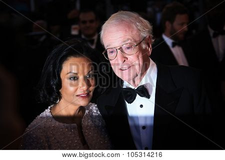 CANNES, FRANCE - MAY 20, 2015: Sir Michael Caine and Shakira Caine attend the 'Youth' Premiere during the 68th annual Cannes Film Festival on May 20, 2015 in Cannes, France.
