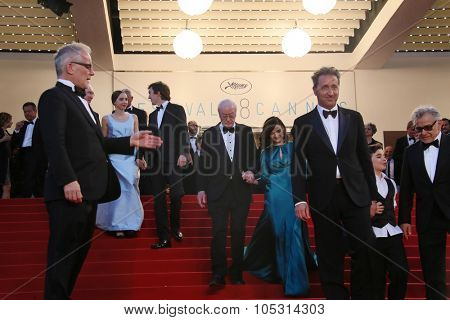 CANNES, FRANCE - MAY 20, 2015: Rachel Weisz, Harvey Keitel, Paul Dano,  Sir Michael Caine   attend the 'Youth' Premiere during the 68th annual Cannes Film Festival on May 20, 2015 in Cannes, France.