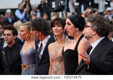 Rossy de Palma, Sienna Miller, Joel Coen, Xavier Dolan,Sophie Marceau   attends the closing ceremony during the 68th annual Cannes Film Festival on May 24, 2015 in Cannes, France.