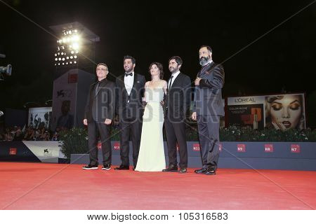 Venice, Italy - 08 September 2015: Mufit Kayacan, Berkay Ates, Tulin Ozen, Emin Alper and Mehmet Ozgur attend a premiere for 'Frenzy' during the 72nd Venice Film Festival