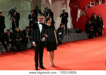 Laurent Vinay, Chiara Mastroianni attend a premiere for  Jaeger-LeCoultre Glory to the Filmmaker 2015 Award during the 72nd Venice Festival at Sala Grande on September 9, 2015 in Venice, Italy.