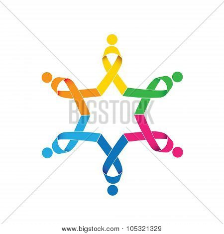 Breast Cancer Awareness Vector Ribbon Icons In Circle. This Also Represents Women Fighting Breast Ca