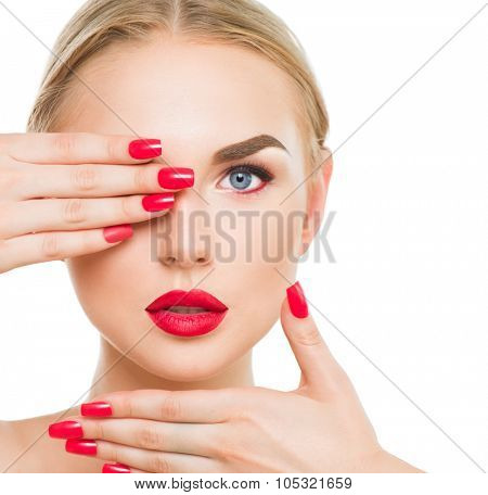 Beautiful woman portrait. Beauty Blonde Fashion model with red lipstick and red nails. Glamour sexy girl with bright makeup isolated on white. Female face. Perfect skin and make up
