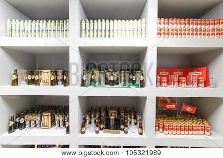 MOSCOW - DECEMBER 2, 2014: cans and bottles of beer on the exhibition stand of the brewery Moscow Brewing Company