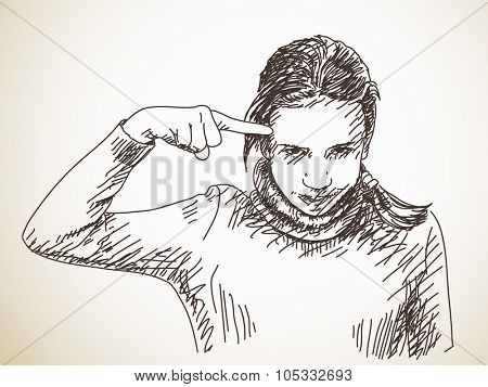 Teenager girl gesturing with her finger against temple, Vector sketch, Hand drawn illustration
