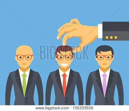 Hand picking the best candidate. Employment, recruitment, searching professional staff, human resources. Modern flat design concepts for web banners, web sites, printed materials. Vector illustration poster