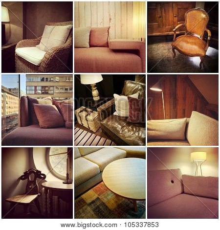 Furnished Interiors Collage