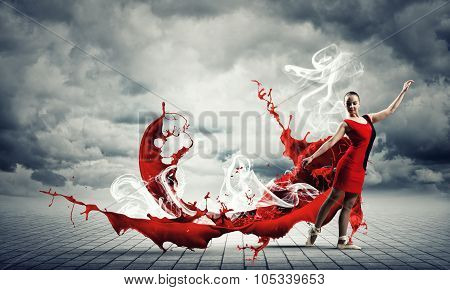 Passionate woman dancer in red dress and red spalshes poster