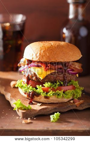 bacon cheese burger with beef patty tomato onion poster