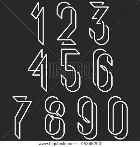Numerical Symbols Line Monogram Numbers, Mockup Black And White Line Mathematics Numerals For Hipste