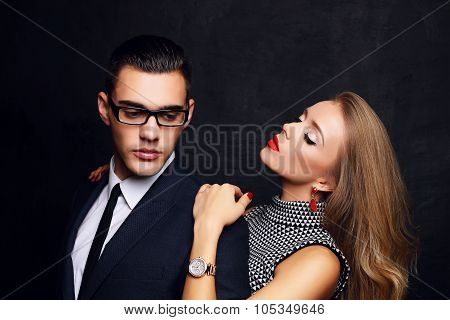 Beautiful Sensual Impassioned Couple. Office Love Story