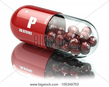 Pills with phosphorus P element Dietary supplements. Vitamin capsules. 3d