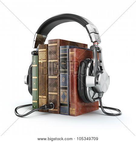 Audio books concept. Vintage books and headphones. 3d