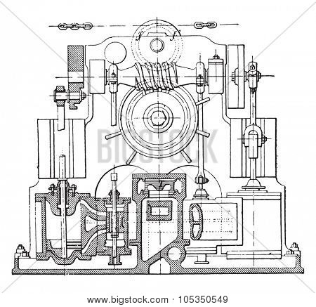 Actuator Suffren, vintage engraved illustration. Industrial encyclopedia E.-O. Lami - 1875.