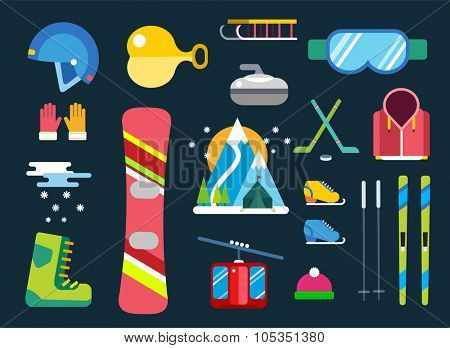 Winter sport vector icons set. Winter sport games icons pictograms. Winter sports icons flat design. Winter games sport icons isolated. Ski, sport, active extrimal sports, winter games, sport icons