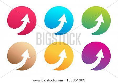 Vector arrow icon. Arrow abstract logo template. Up arrow, cursor arrow icon, arrowheads. Arrow marker and dynamic arrow symbol. Arrow isolated. Arrow vector logo. Arrow company logo