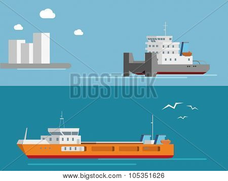Cargo and tug ships. Flat vector transportation concept.