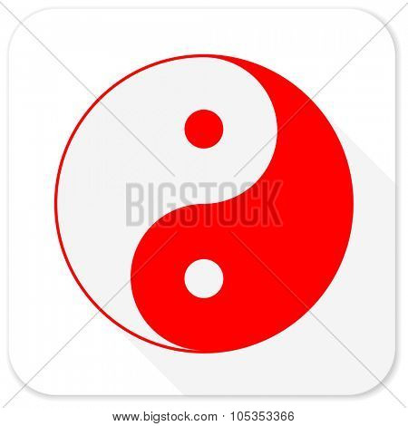 ying yang red flat icon with long shadow on white background