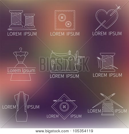 Set of sewing, tailoring or dressmaking icons on blurred background