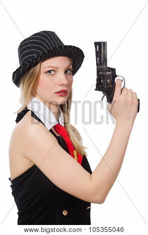 Gangster woman with handgun on white poster