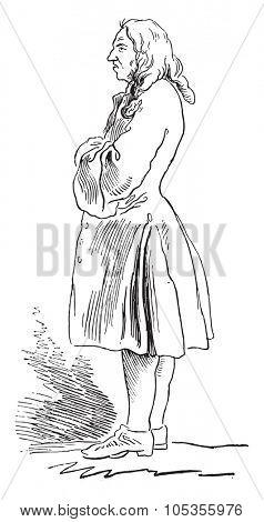 Gradot, Waiter the eighteenth century, vintage engraved illustration. Magasin Pittoresque 1867.