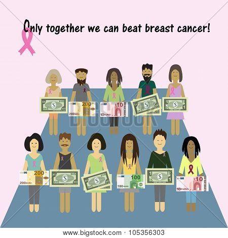 Pink Ribbon Breast Cancer. Money for the diagnosis and treatment of breast cancer. Charity. Vector i
