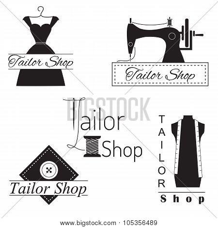 Set of tailor labels, badges and emblems . Tailor shop design elements vector. poster