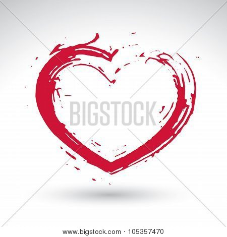 Hand Drawn Red Love Heart Icon, Loving Heart Sign, Created With Real Hand Drawn Ink Brush