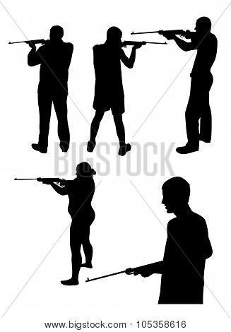 Silhouettes Of People With Gun