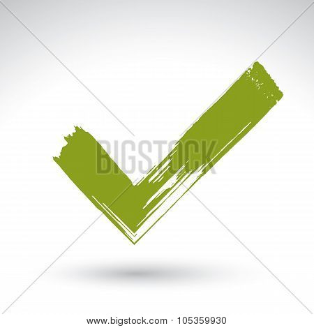 Hand Drawn Validation Icon Scanned And Vectorized, Brush Drawing Green Checkmark, Hand-painted Navig