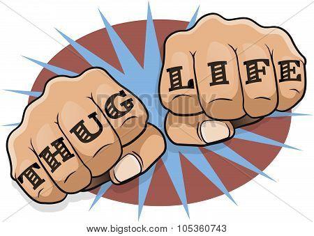 Pop Art Thug Life Tattoo Fists.
