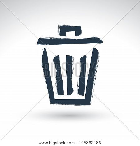 Hand-painted Simple Vector Trash Can Icon Isolated On White Background, Metallic Dustbin Symbol