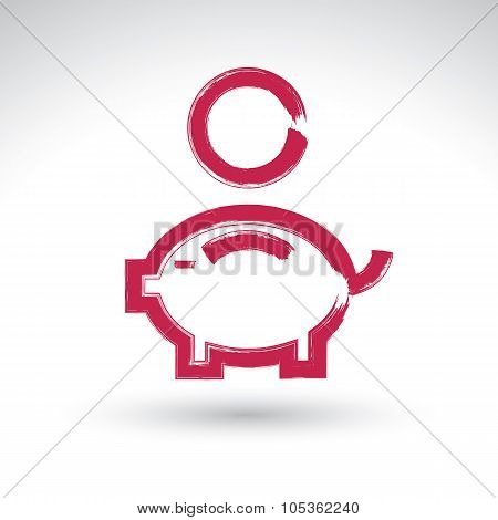 Hand Drawn Pink Piggybank Icon, Brush Drawing Coin Bank Sign, Hand-painted Simple Piggy Isolated On