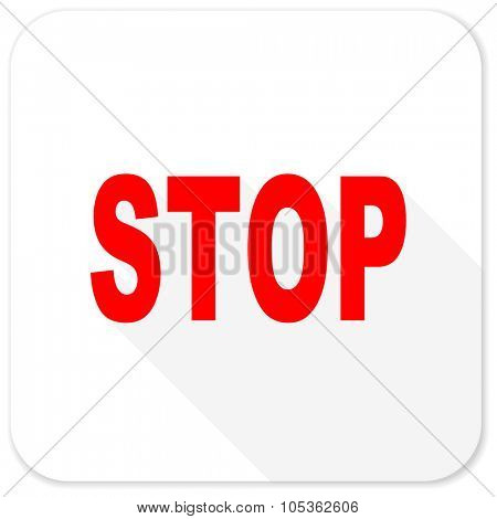 stop red flat icon with long shadow on white background