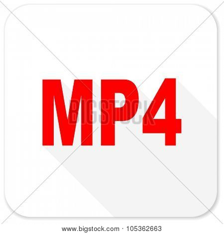 mp4 red flat icon with long shadow on white background